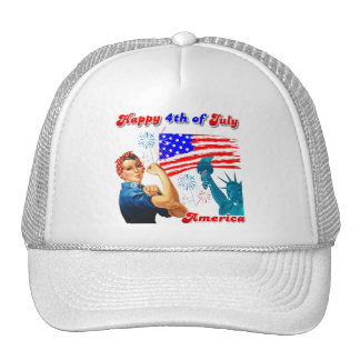 Rosie The Riveter Happy 4th of July Hat