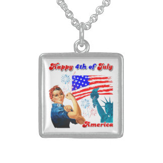 Rosie The Riveter Happy 4th of July Square Pendant Necklace