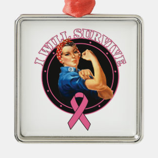Rosie The Riveter I Will Survive Breast Cancer Silver-Colored Square Decoration