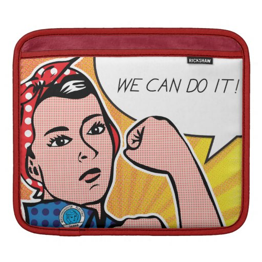 Rosie the Riveter in Pop Art Style Polka Dots Sleeves For iPads