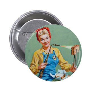 Rosie the Riveter Makes Toasted Cheese Pinback Button