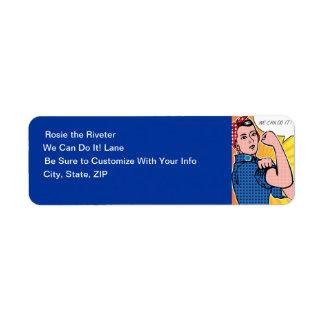 Rosie the Riveter Pop Art Style We Can Do It! Return Address Label