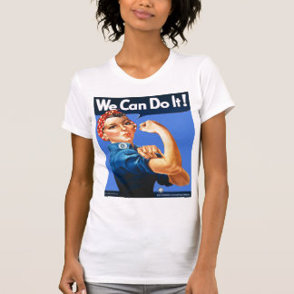 Rosie the Riveter Solid Blue T-Shirt