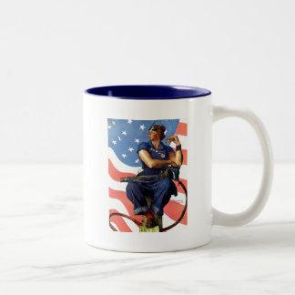 """Rosie the Riveter"" Two-Tone Coffee Mug"
