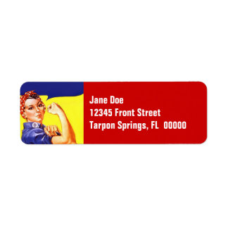 Rosie The Riveter Vintage Fun Return Address Label