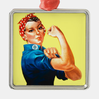 Rosie the Riveter - We can do it, Cultural Icon Silver-Colored Square Decoration