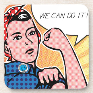 Rosie the Riveter We Can Do It Pop Art Dots Coasters