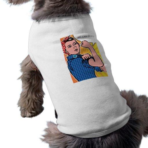 Rosie the Riveter We Can Do It! Pop Art Dots Dog Tee Shirt