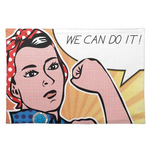 Rosie the Riveter We Can Do It! Pop Art Dots Place Mats