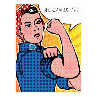 Rosie the Riveter We Can Do It! Pop Art Dots Postcard