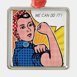 Rosie the Riveter We Can Do It! Pop Art Dots Silver-Colored Square Decoration