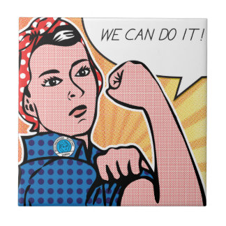 Rosie the Riveter We Can Do It! Pop Art Dots Small Square Tile