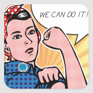Rosie the Riveter We Can Do It! Pop Art Dots Square Sticker