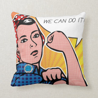 Rosie the Riveter We Can Do It! POP Art Style Dots Throw Pillow