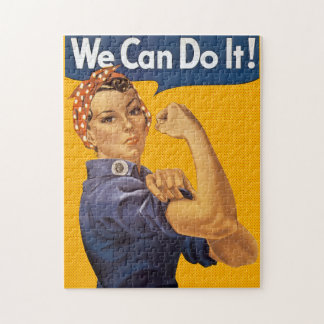Rosie the Riveter We Can Do It! Red Polka Dots Jigsaw Puzzle