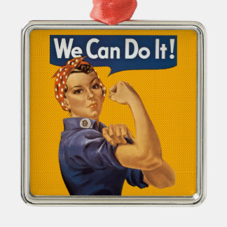 Rosie the Riveter We Can Do It! Red Polka Dots Silver-Colored Square Decoration