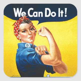 """Rosie the Riveter – """"We Can Do It!"""" Square Sticker"""