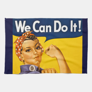 Rosie the Riveter We Can Do It Vintage Tea Towel