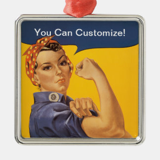 Rosie the Riveter We Can Do It! Your Text Here Silver-Colored Square Decoration