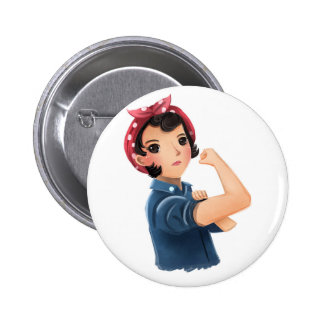 rosie the riveter women we can do it! WWII 6 Cm Round Badge