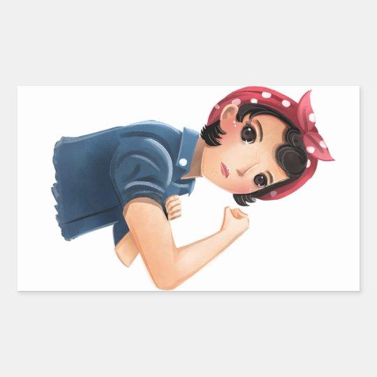 rosie the riveter women we can do it! WWII Rectangular Sticker