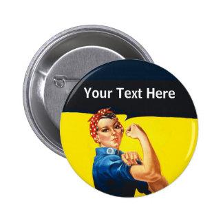 Rosie The Riveter WW2 War Effort Working Woman 6 Cm Round Badge