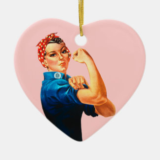 Rosie The Riveter WWII Poster Ceramic Heart Decoration