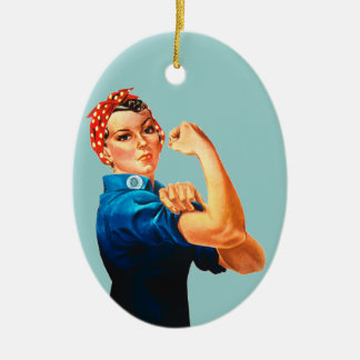 Rosie The Riveter WWII Poster Ceramic Oval Decoration