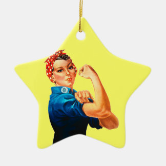 Rosie The Riveter WWII Poster Ceramic Star Decoration