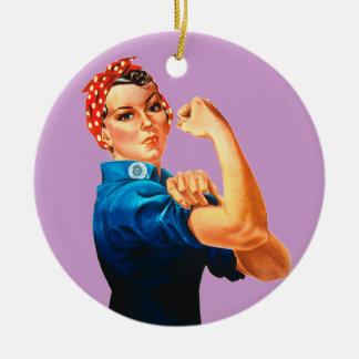 Rosie The Riveter WWII Poster Round Ceramic Decoration