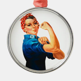 Rosie The Riveter WWII Poster Silver-Colored Round Decoration