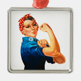 Rosie The Riveter WWII Poster Silver-Colored Square Decoration