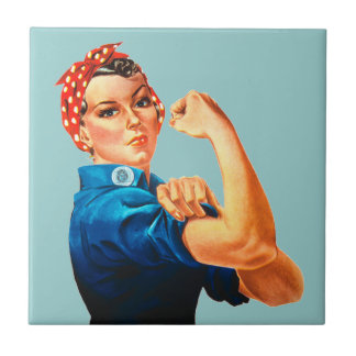 Rosie The Riveter WWII Poster Ceramic Tiles