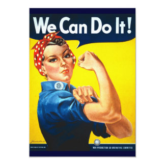 """Rosie Vintage we can do it! 5"""" X 7"""" Invitation Card"""