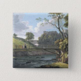Roslin Castle, Midlothian (w/c and gouache on pape 15 Cm Square Badge