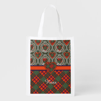 Ross clan Plaid Scottish tartan Reusable Grocery Bags