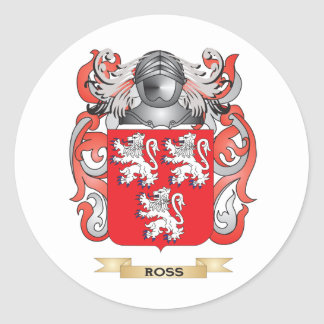 Ross Coat of Arms Family Crest Round Stickers