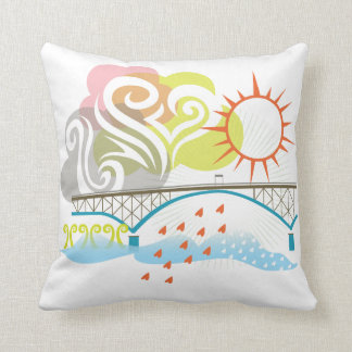 Ross Island Bridge Portland Oregon Pillow