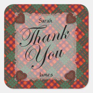 Ross Scottish clan tartan - Plaid Square Stickers