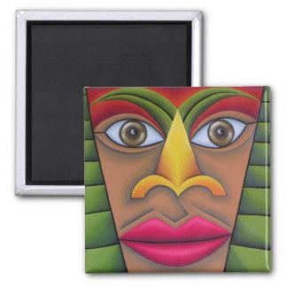 Rostro pintura óleo arte square magnet