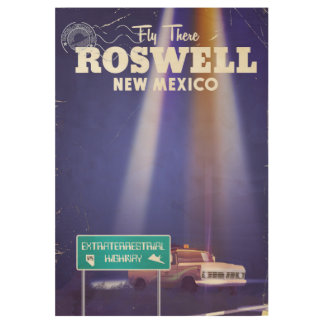 Roswell Extraterrestrial Highway travel poster Wood Poster