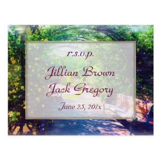 Rosy Bower Wedding RSVP Postcard