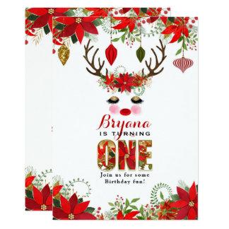 Rosy Cheeks Gold Eyes Floral Reindeer 1ST BIRTHDAY Card