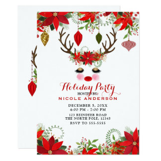 Rosy Cheeks Gold Eyes Floral Reindeer Holiday Card