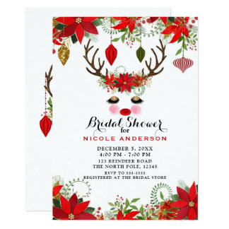Rosy Cheeks Gold Eyes Reindeer Bridal Shower Party Card