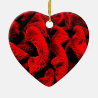 Rosy Fabric Ceramic Heart Decoration