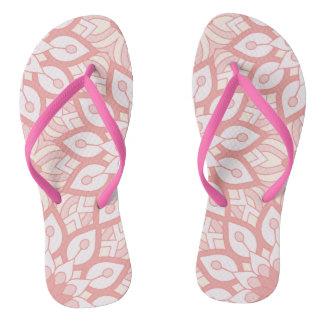 Rosy floral mandala geometric pattern flip flops