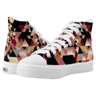 Rosy Metallic Geometric Triangle Printed Shoes