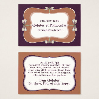 Rosy Nouveau Dragonfly Business Card Template