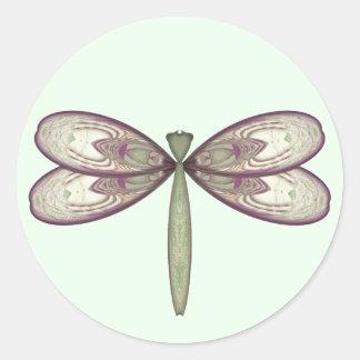 Rosy Nouveau Dragonfly Round Sticker